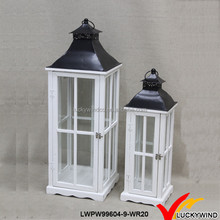 Metal Black Top White Antique Square Wooden Candle Lantern