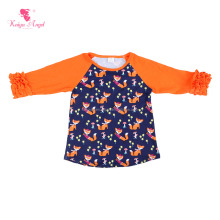 Animal Printing Girls T-shirt 3/4 Sleeve Ruffle Raglan Shirts