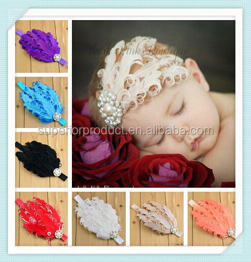 High quality top baby hair accessories multi-colored feather baby headbands