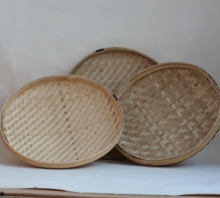 Flat Round Bamboo Basket fruit vegetable basket