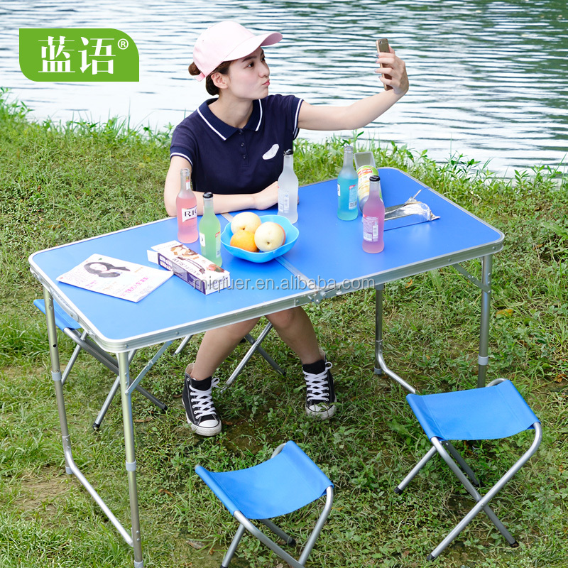 wholesale adjustable square plastic outdoor folding <strong>table</strong> and bench blue white