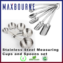 12 Piece Set including 6 Nesting Cups and 6 Narrow stainless steel Measuring Spoons and Cups Set