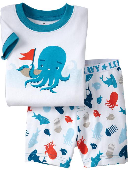 fashion new starfish printed short sleeve pajamas suits kids cotton sleepwear