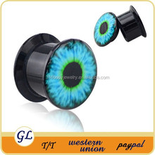 Acrylic ear tunnels evil eye body jewelry