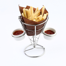 French Fry Chip Cone Finger Food Wire Stand With 2 Dip Holder&2 Porcelain Cups F0065