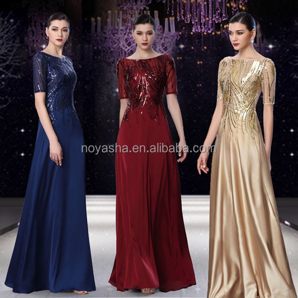Sequins Ladies Long Evenig Party Wear Gown Evening Gowns For Wedding
