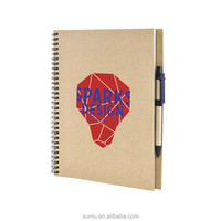 Custom Recycled kraft Paper Spiral Notebook with Pen