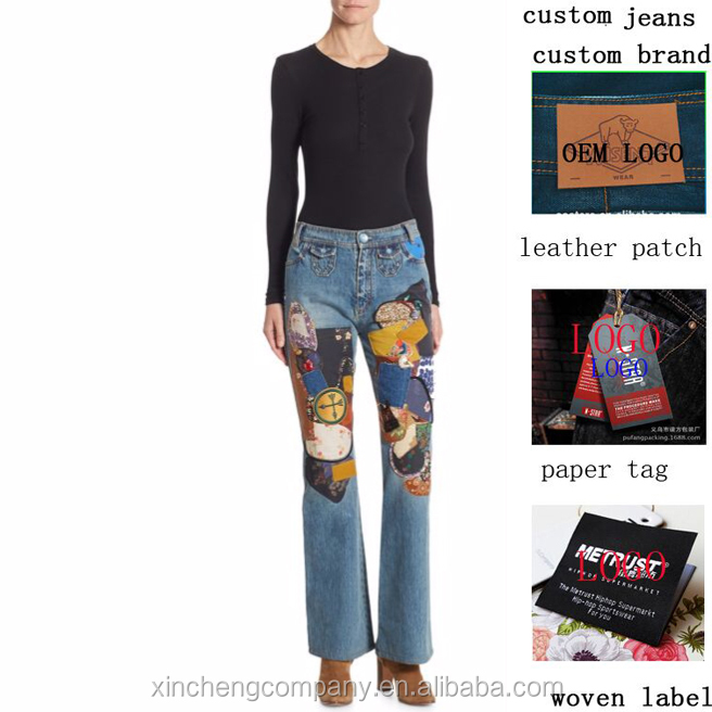 Mid-Rise Cotton Bootcut rock flared Jeans with colour pattern women denim jeans wholesale China factory custom jeans