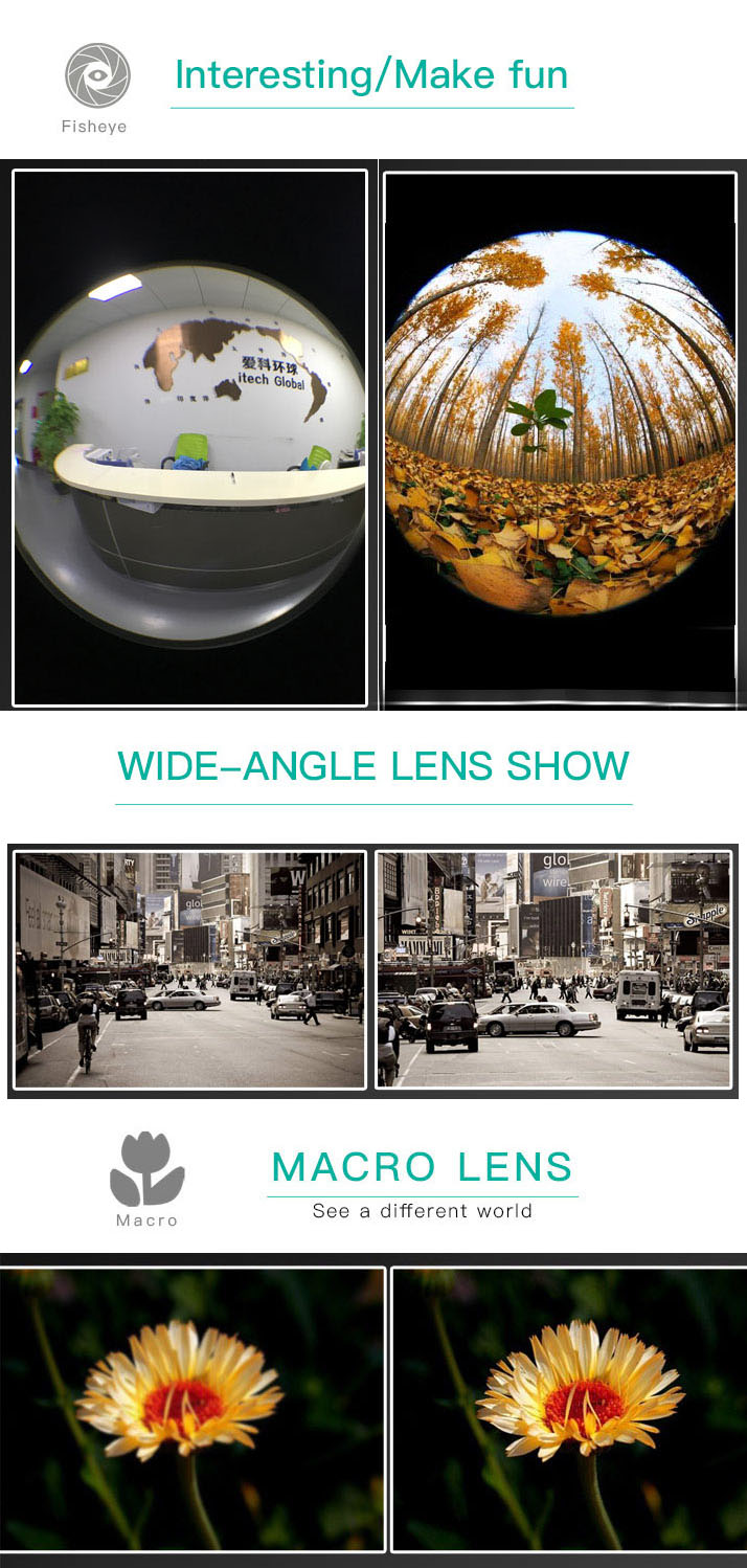 3 in 1 lens contains 230 degrees fisheye/0.36x wide angle/15x macro lens for mobile phone camera zoom lens