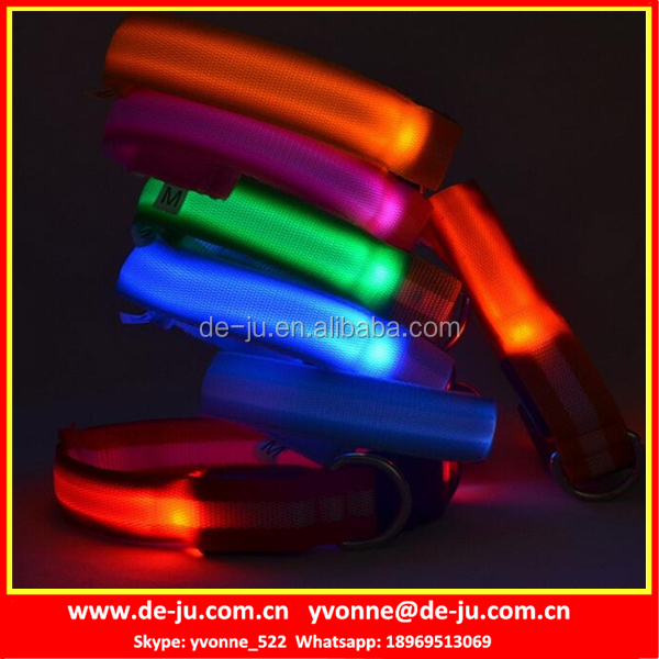Battery Control Colorful LED Glow Pet Collars