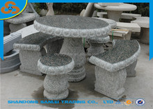 garden outdoor patio furniture granite stone table and bench carving