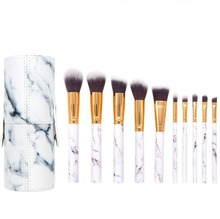 Personised 10Pcs Crystal Marble Makeup Brush Set With Customized Packaging