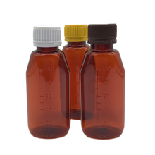 Pharmaceutical COA Empty PET 3oz 100ml amber oval pharmacy syrup bottle with anti-theft cap