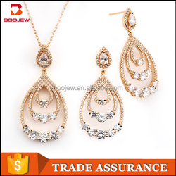 Charming Champagne Gold pendant necklace wedding jewelry set with cubic zirconia Boojew brand 925 silver wedding gold jewelry