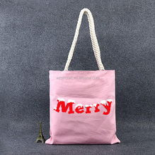 DIY sunshine plain white cotton canvas tote bag with zipper,Pink beach bag with rope handle