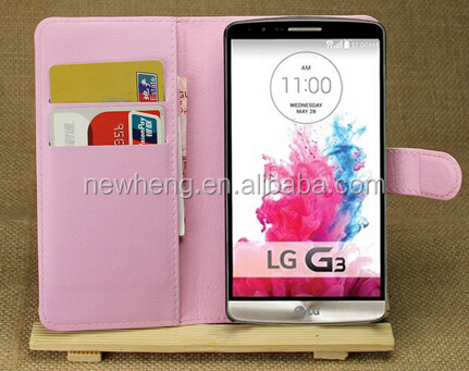 mobile phone wallet leather case for LG G3 D850 LS990 with card slot