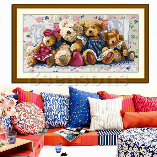 Custom Cute Discount Rectangle Bear Diy Teddy Bear Cross Stitch 3D Sewing Stitch Kit