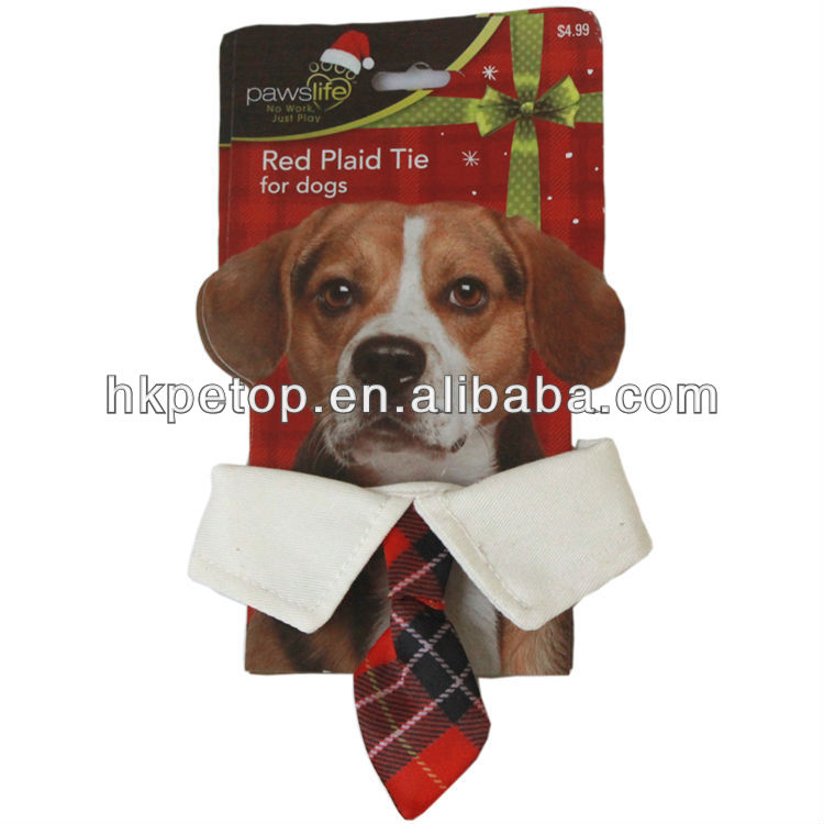 Stock Canvas Red Plaid Christmas Dog Bow ties