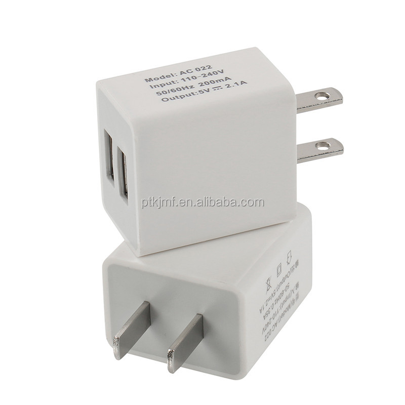 Compact Size 5V 2A 10W Tablet Mobile Use Amerian Prong Dual USB Charger Adapter