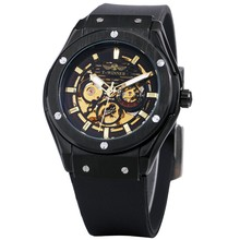 HOT! 389 Skeleton Watch Winner Luxury Mens Classic Mechanical Wholesale Deal Watches Rubber Strap Male Automatic Luminous Hands