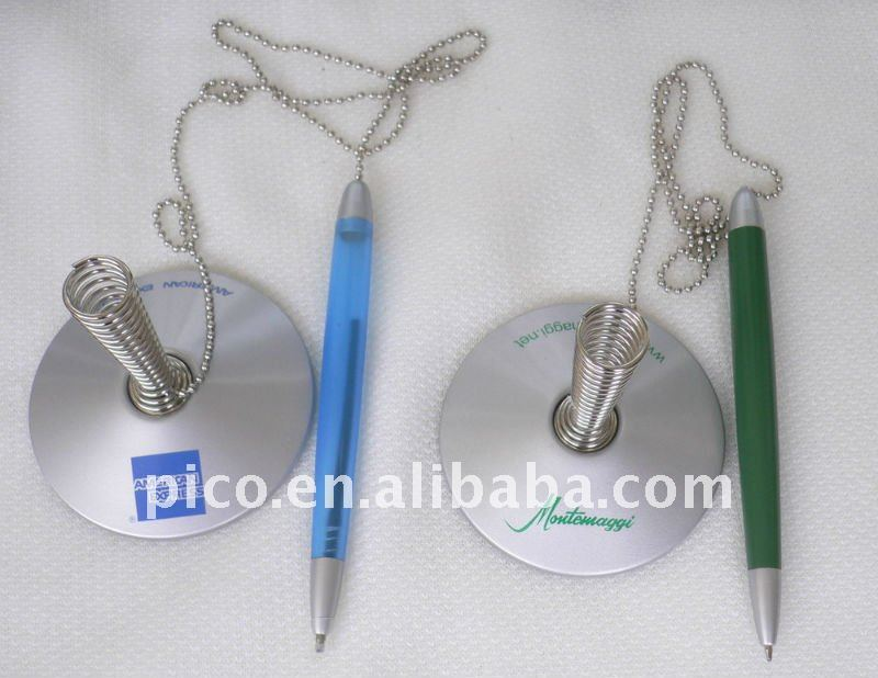 Metal Spring Based Table Pen With Chain For Promotion