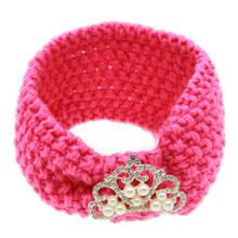 Winter Knitted Headbands Crystal Crown Knit Headband For Baby Girl Kids