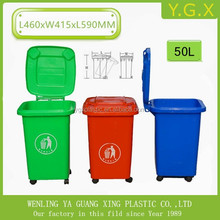 YGX-50L HOT! 50L outdoor street plastic cheap recycle trash bin color code