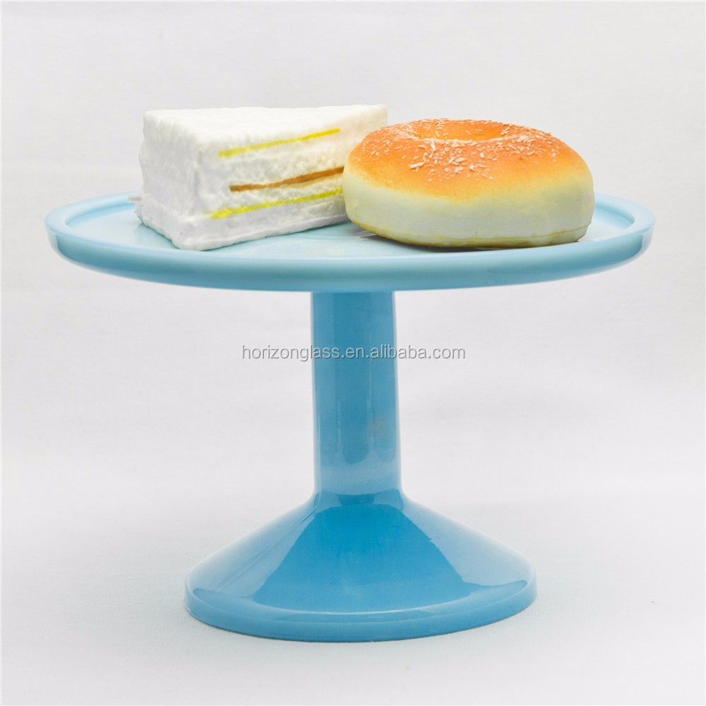 Jade color wholesale glass cake stand dessert plate stand wedding party