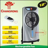 2015 new water mist fan rechargeable made in china with light battey water