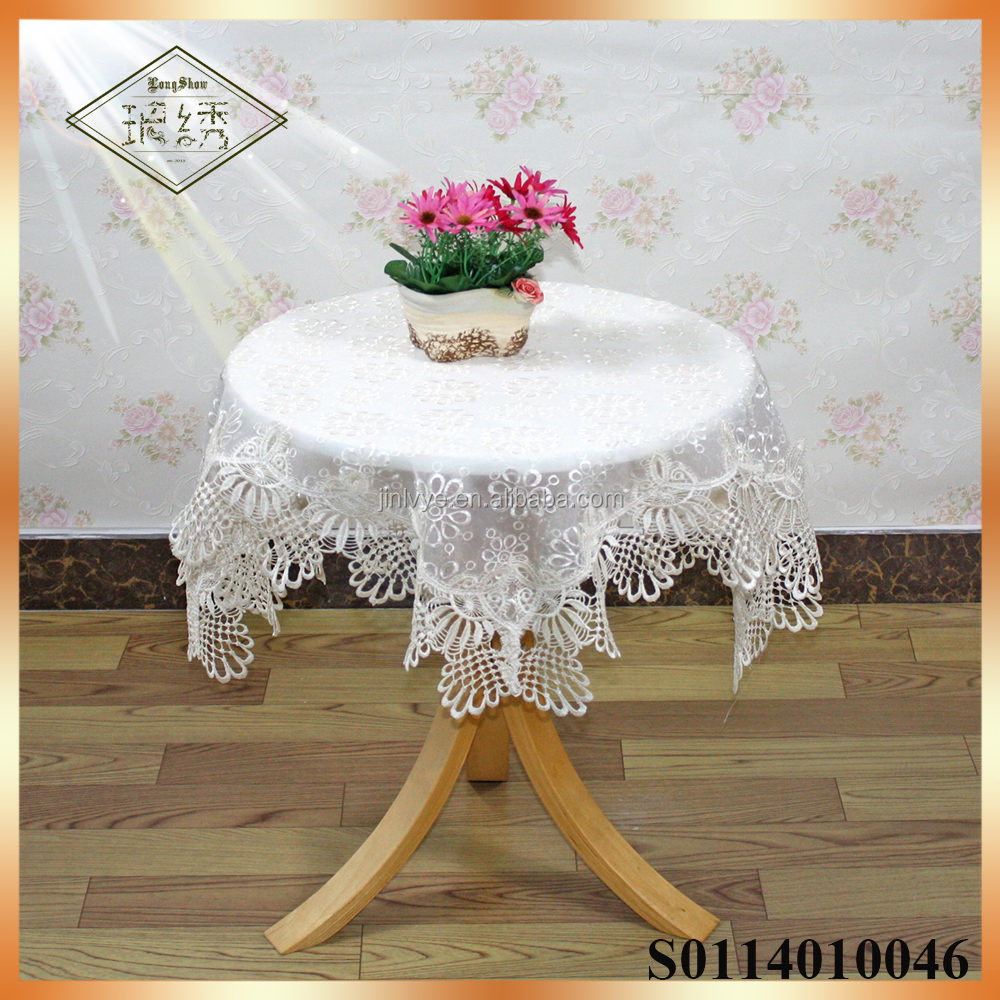high-grade elegant sheer voile fabric embroidered tablecloth