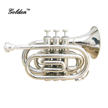 Golden brand JTP-01 Brass body Silver plated Bb Key Pocket Trumpet for sale