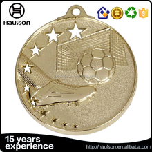 wholesale custom five stars 3d diecast iron brass zinc alloy metal medal antique gold plating hollow out football medal