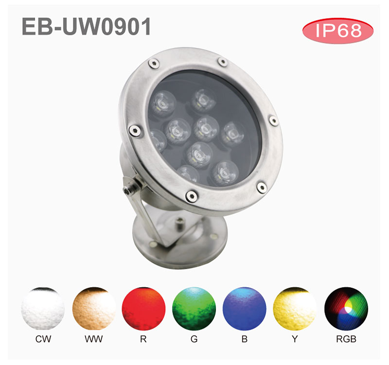 7w 9w 12w under water led pool light IP68 underwater lighting led pool light
