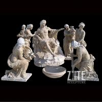 Hand Carved Three Graces White Natural Marble Statue