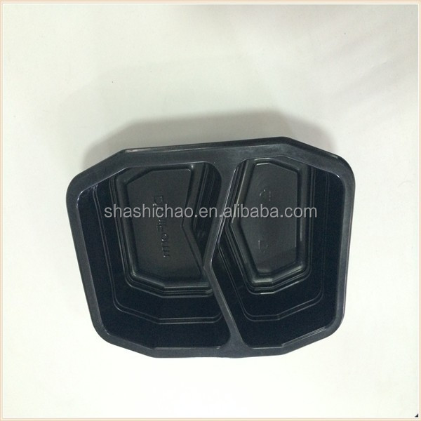 disposable frozen microwable food tray with two compartments