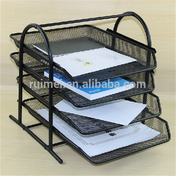 Counter-top 4-tiers Metal Office File Rack