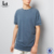 Blank Short Sleeves Cotton T shirts Blue Acid Wash Blank T-Shirt