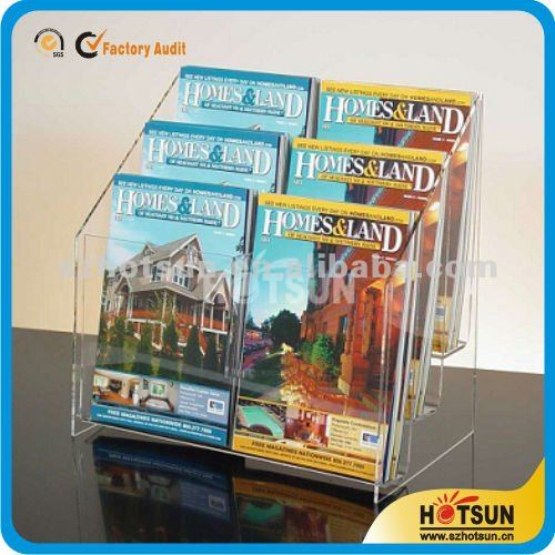 Counter top clear brochure stand 6 pockets A5 acrylic brochure holder tourist magazine rack