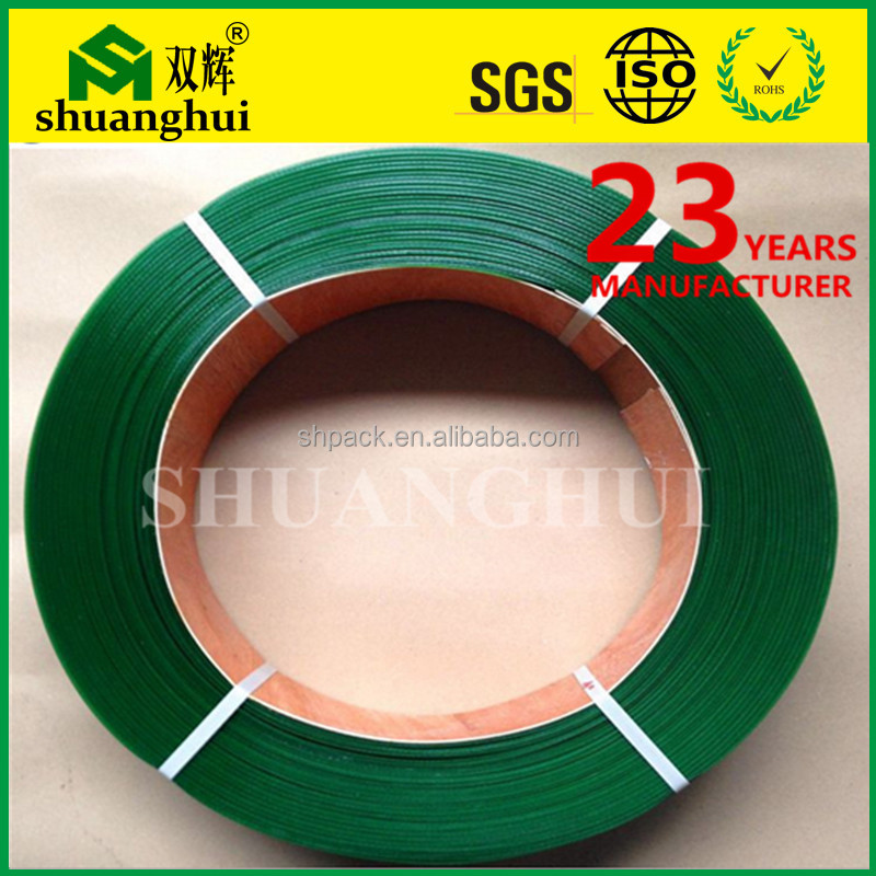 Alibaba factory wholesale 19mm green soft flexible plastic packing strap roll PET strapping