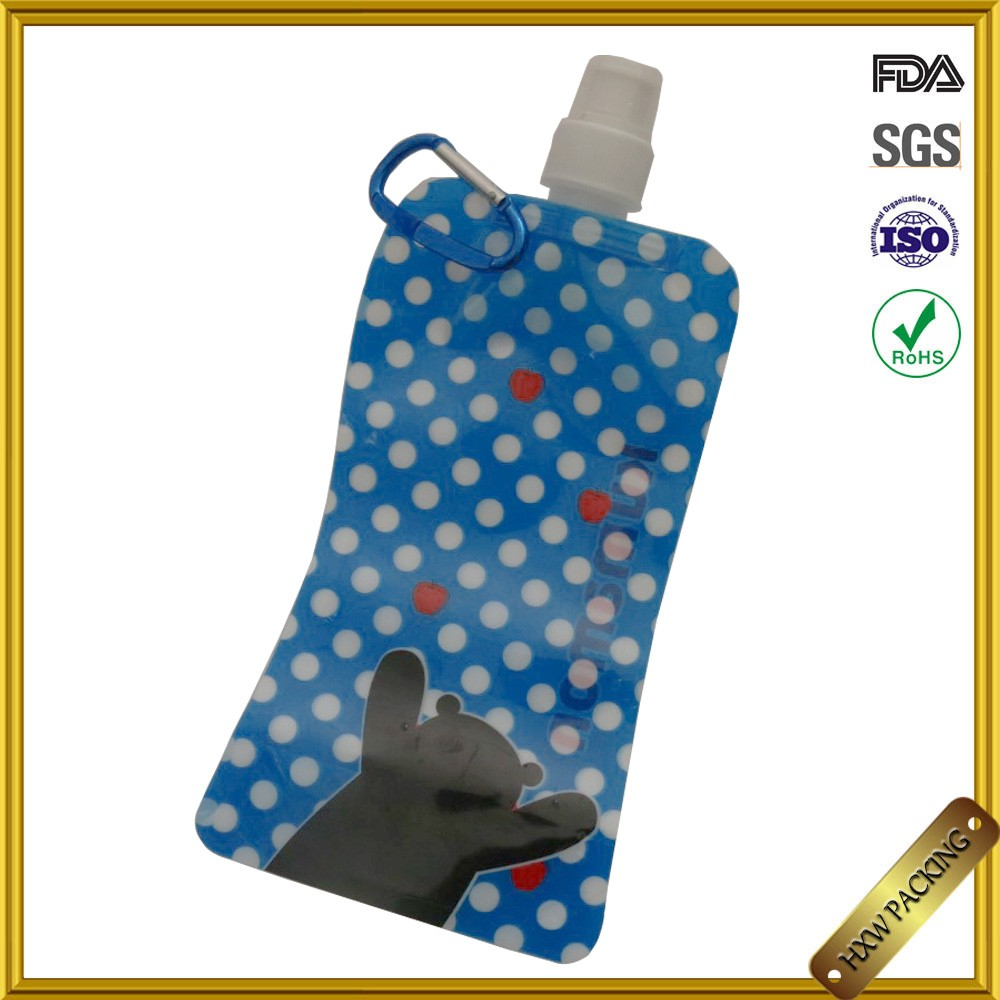 customized folding water bag with spout