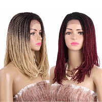 cheap full braid from top to bottom deep hand tied part kanekalon fiber synthetic box braided lace front wig with baby hair