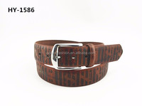 Beautiful Embossed brown High quality PU Leather Belt for Men