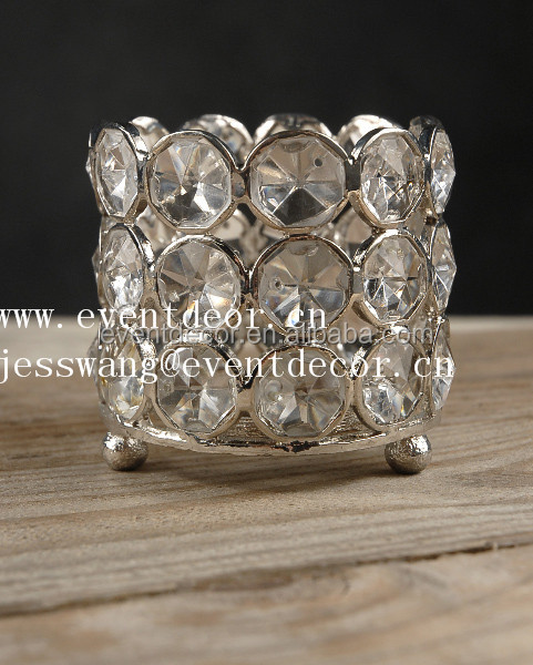 Wedding decorative 3 tier crystal beaded candle holder for decoration wedding table