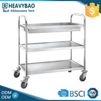 Heavybao Stainless Steel Knocked-down Commercial Kitchen Cart Hotel Linen Hospital Food Trolley