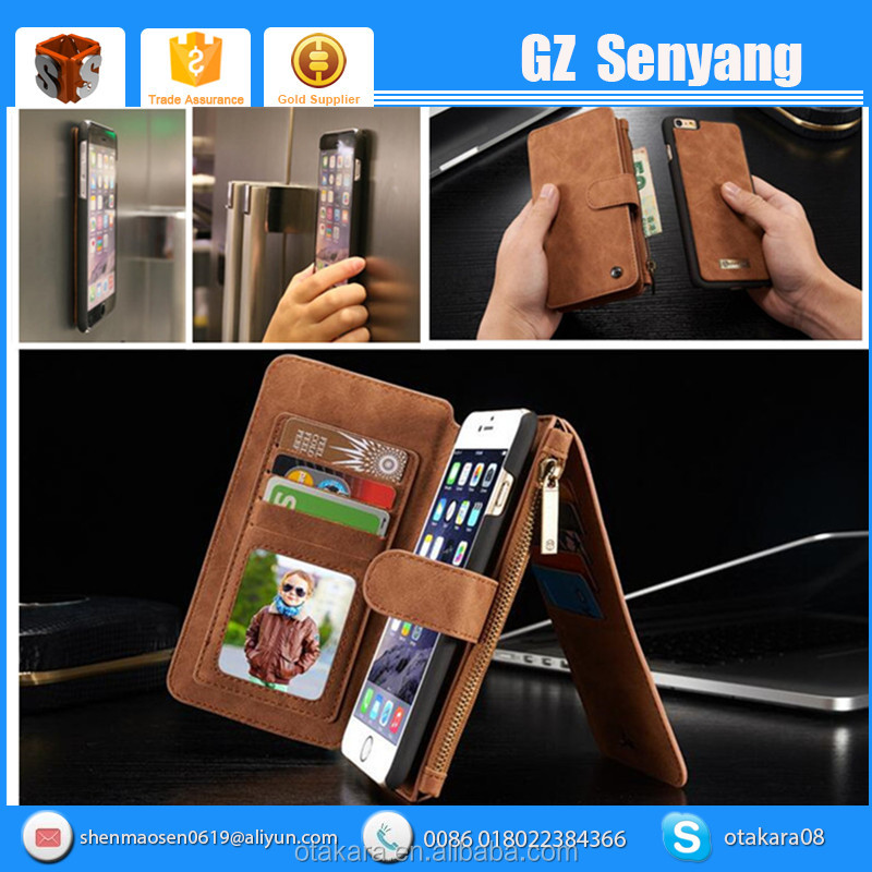 2016 New Best Selling Real Leather Multifunction Wallet Case For Iphone 6