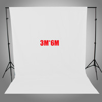 2.6*3m Backdrop Support With 3*6M Photo Lighting Studio 100% Cotton screen Muslin White Background Backdrop