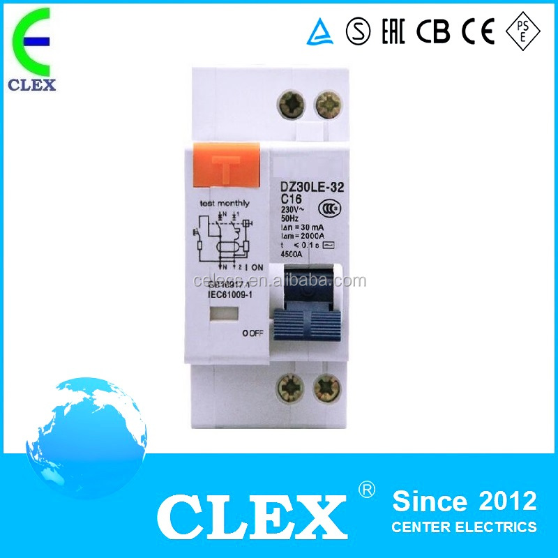 DZ30LE-32 1p+n 16A Earth Leakage/Residual Current Circuit Breaker/RCBO/ELCB/RCCB