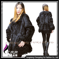 CX-G-A-194 Dress Design Rabbit Fur With Lamb Fur Trim Lady Garments