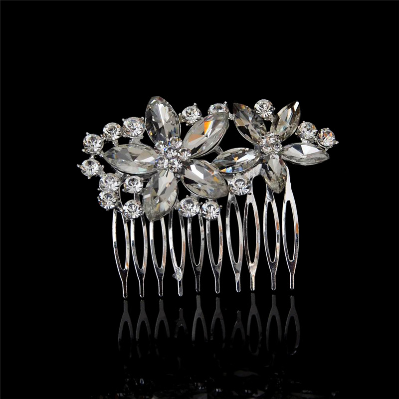 Flower Butterfly Designs Wedding Tiara Diamante Silver Plated Crystal Hair Combs Hairpin Bridal Jewelry Accessories