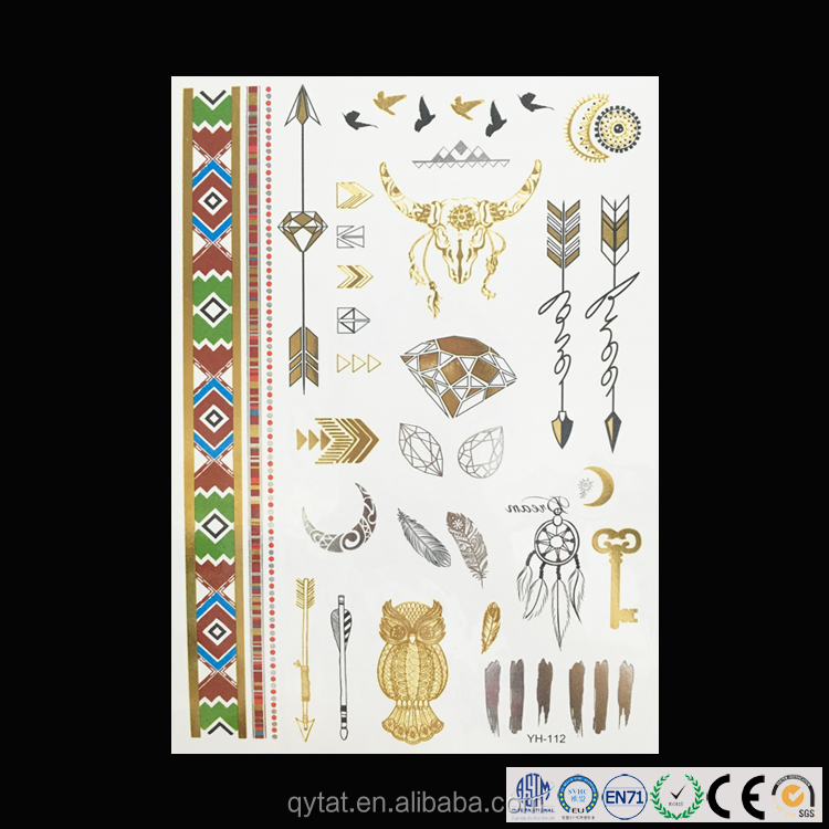 Long-lasting Fashionable Tattoo Sticker Metallic Temporary For Young People